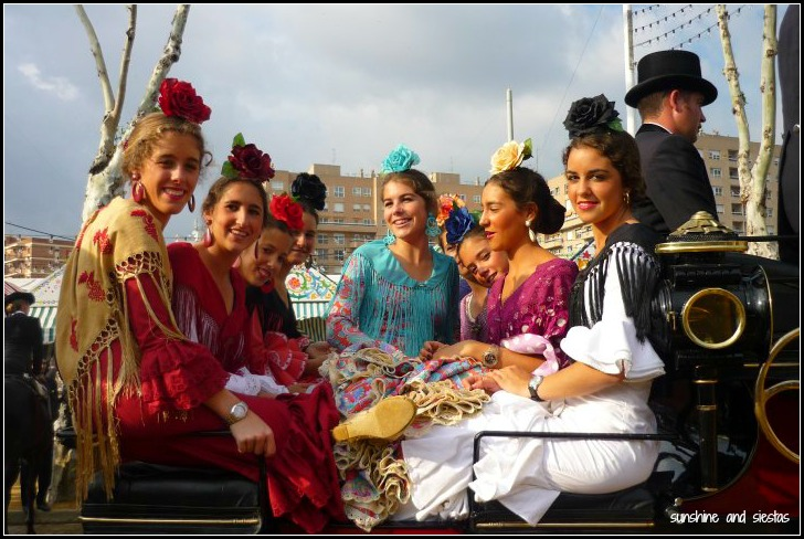 Flamencas on a horse carriage