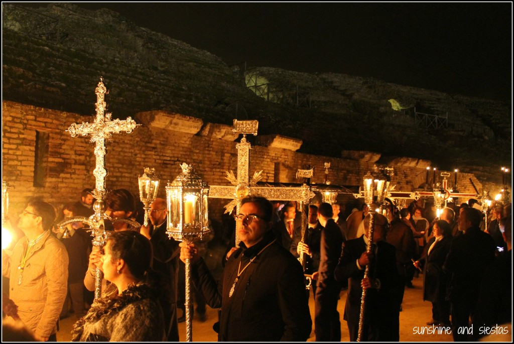 Brotherhoods participating in a Via Crucis in Spain