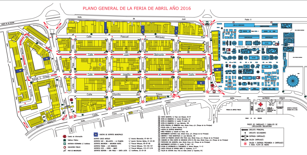 A Map of the Seville Fair fairground and free public casetas