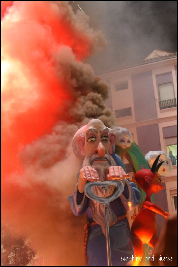 Ninots burning in Valencia