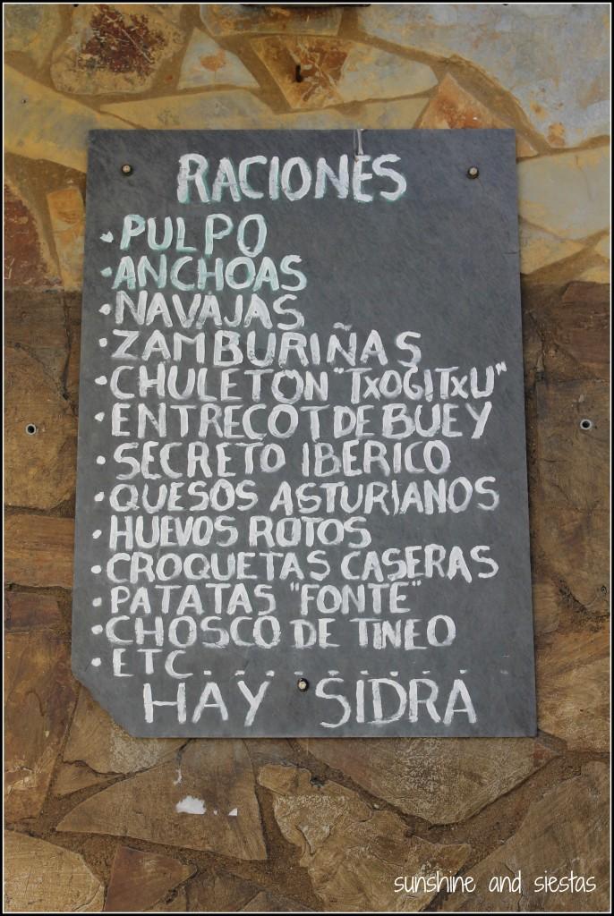 Asturian food menu