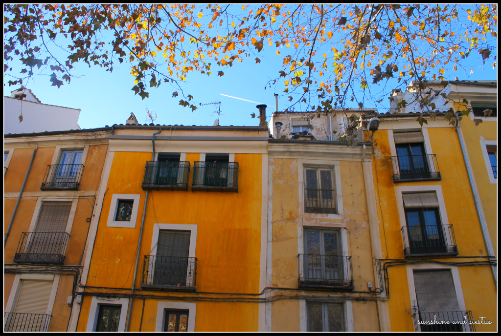 beautiful house facades yellow Spain