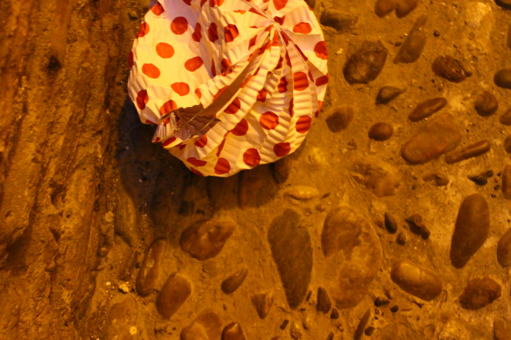 A paper lantern on the ground