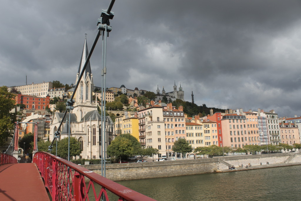 Lyon France old town in a storm